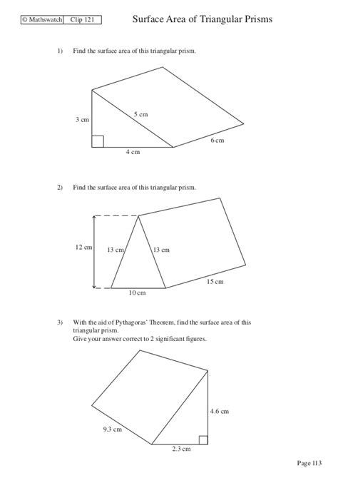Surface Area Of Triangular Prism Worksheet by Volume Of A Triangular Prism Worksheet Worksheets