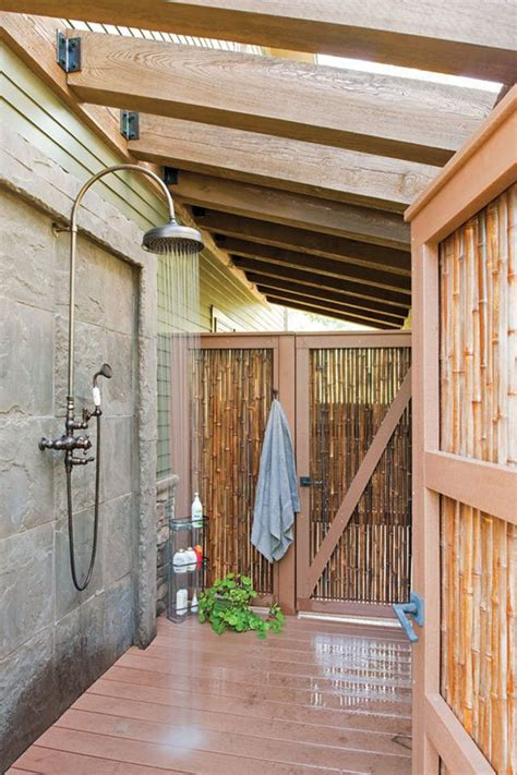 private outdoor shower  wood  bamboo accents