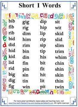 5 Letter Words I In The Middle vowel sound word lists i phonetics