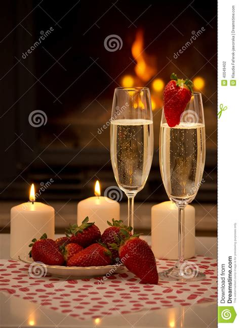 Romantic Evening By The Fireplace. Stock Photo - Image ... X 23