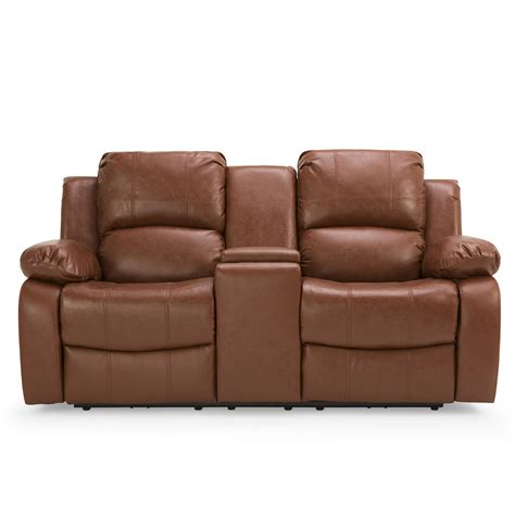 Recliners With Console by Asturias Leather 2 Seater Electric Recliner Sofa With