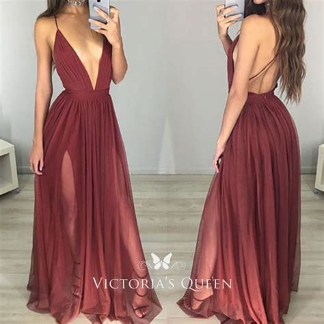 plunging  neck open  slit burgundy tulle prom gown vq