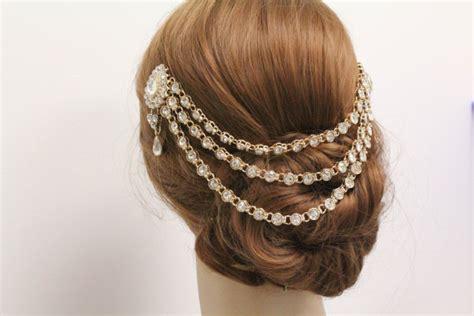 Vintage Bridal Hair Chain by Gold Vintage Inspired Bridal Hair Chain Wedding Chain