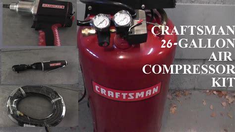 craftsman  gallon air compressor  tool kit hd youtube