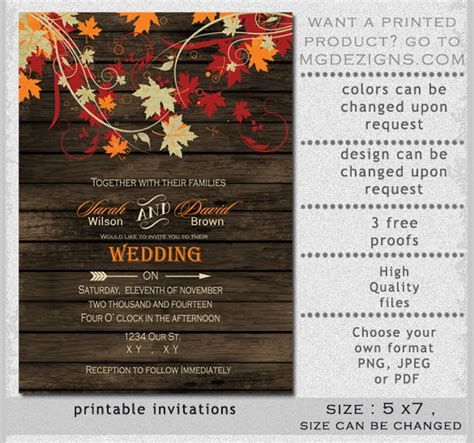 wedding reception invite layout 3 26 fall wedding invitation templates free sle exle format free premium