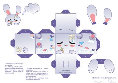 Paper Craft Rabbit - kawaii papercraft template related keywords kawaii