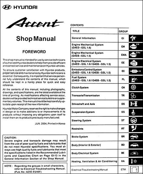 2005 hyundai accent repair manual 2005 hyundai accent repair shop manual original