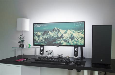 white modern and cable free desk gaming desk ideas