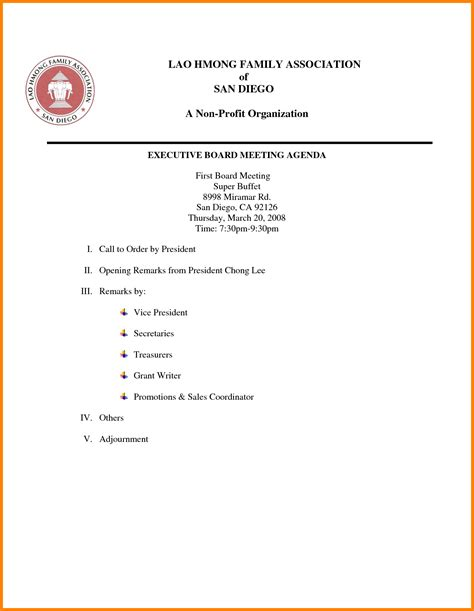 meeting agenda exles templates 8 nonprofit board meeting agenda template letter format for