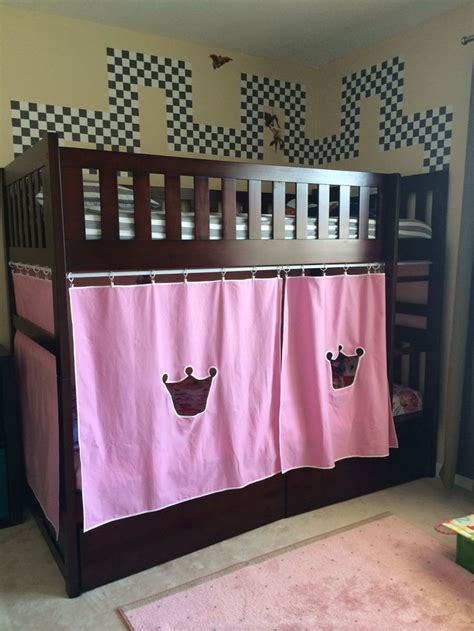 loft bed with curtains diy castle bunk bed for my little prince and princess no
