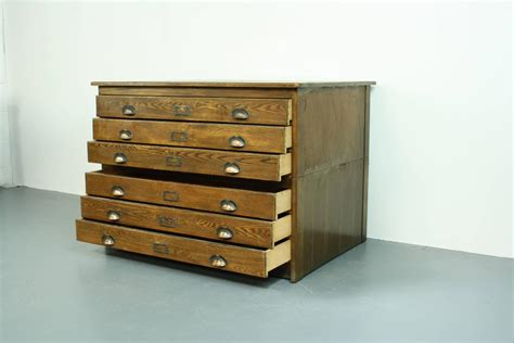 Wood For Drawers by 1930s Wooden Plan Chest Architect Drawers With Brass