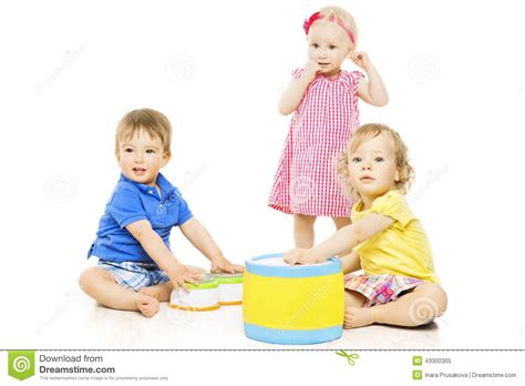Children Playing Toys Small Kids Isolated White Background Stock Image Image Of Group Cute Pictures Of Small Children