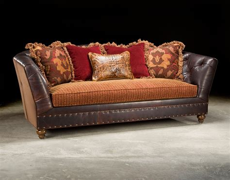 Sofas With Leather And Fabric Fabric And Leather Tufted Sofa