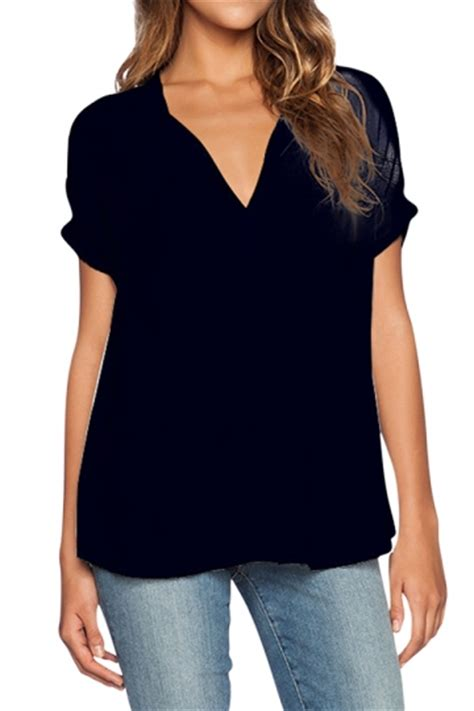 womens plain v neck see through sleeve chiffon