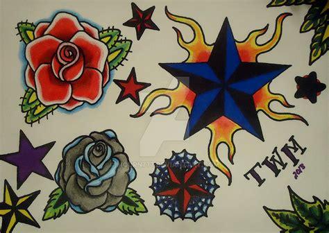 tattoo flash rose star rose tattoo flash by mourn777 on deviantart