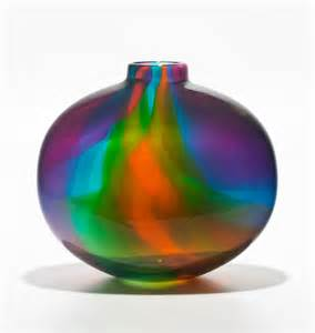 colored glassware color ribbon vase by michael trimpol and