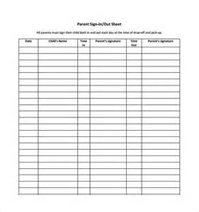 Back To School Sign In Sheet Template by 12 Sign Out Sheet Templates Free Sle Exle