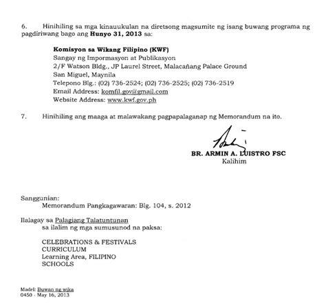 Demand Letter Sa Tagalog Plai Southern Tagalog Region Librarians Council Deped Memo 2013 Buwan Ng Wika