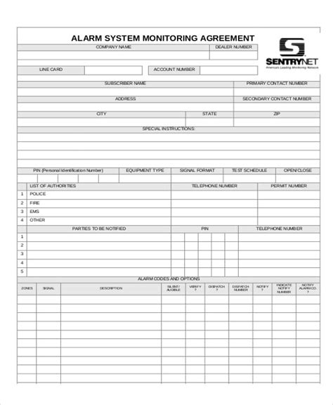 alarm service contract template sle company contract agreements 8 exles in word pdf