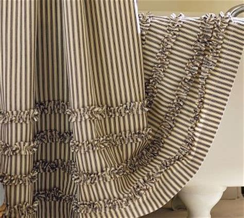 black and white ticking curtains ruffled ticking stripe shower curtain black almond