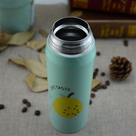 botol thermos fruit stainless steel 500ml green jakartanotebook