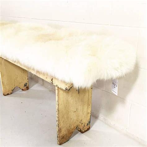 farmhouse bench cushion vintage walnut farmhouse bench with sheepskin cushion at