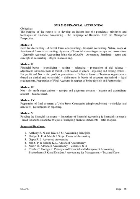 Mba Time Syllabus Jiwaji by Mba Part Time Syllabus Of Cochin