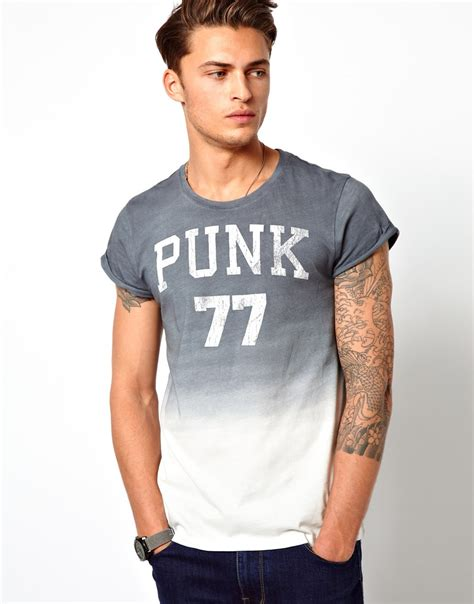 design free asos t shirt asos tshirt with punk print and dip dye in gray for men lyst