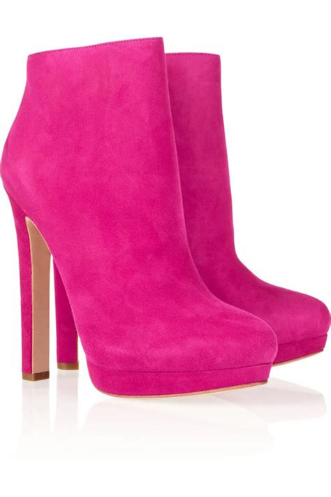 mcqueen pink suede ankle boots 1 075