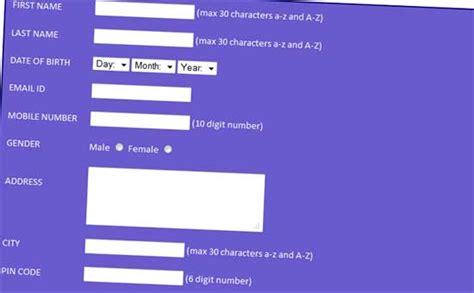 design registration form in html student registration form in html
