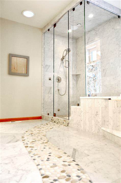 Marble Bathroom Floor with River Rock Contemporary Bathroom seattle by All Tile