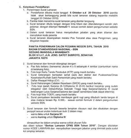 pengumuman lowongan cpns badan standariasasi nasional bns tahun 2010