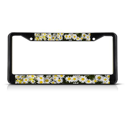 daisies flowers black metal license plate frame tag holder