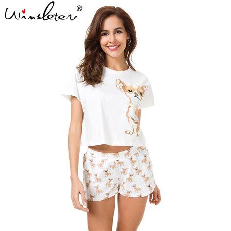 Cutie Set pajama sets cotton chihuahua print crop top shorts