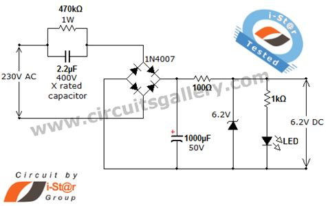 capacitor voltage transformer circuit transformer less ac to dc power supply circuit using dropping capacitor electronics circuits