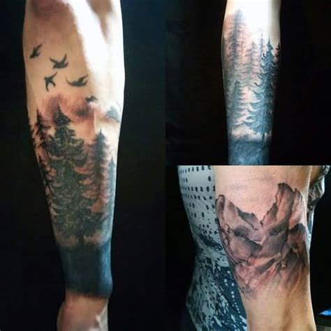 flying sweet bird with nice lower sleeve forest tattoo