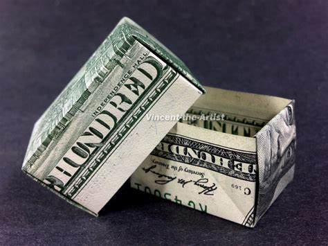 origami money box money origami gift box made w 2 100 dollar bill by