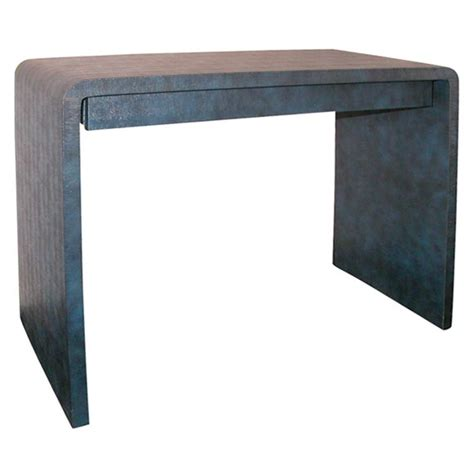 blue lizard embossed leather waterfall console table
