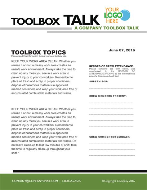 tool box talks template fort mcmurray construction association member benefits