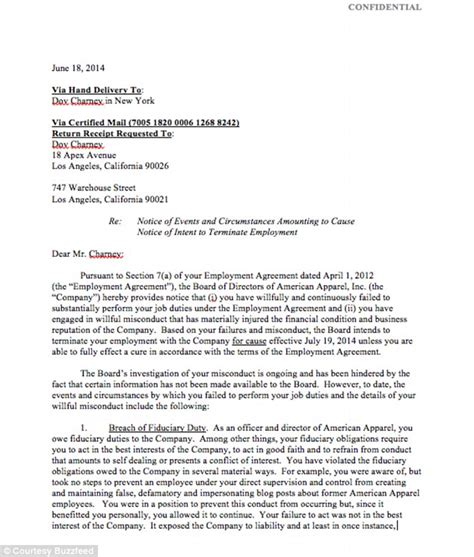 Response Letter To Wrongful Termination American Apparel Ceo Dov Charney Will Sue Company For Wrongful Termination Daily Mail