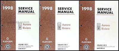 online car repair manuals free 1998 buick riviera instrument cluster 1998 olds aurora and buick riviera shop manual set 98 oldsmobile repair service ebay