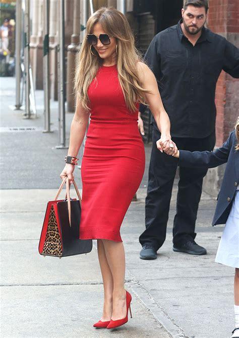 jennifer lopez outfits jennifer lopez s red dress in nyc shows off curves