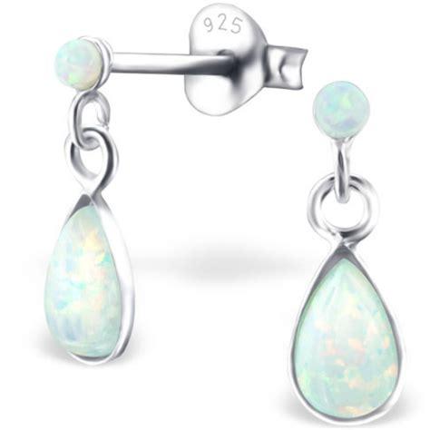 gemstone style white opal stud earrings 925 silver dainty 925 sterling silver opal dangly drop stud earrings