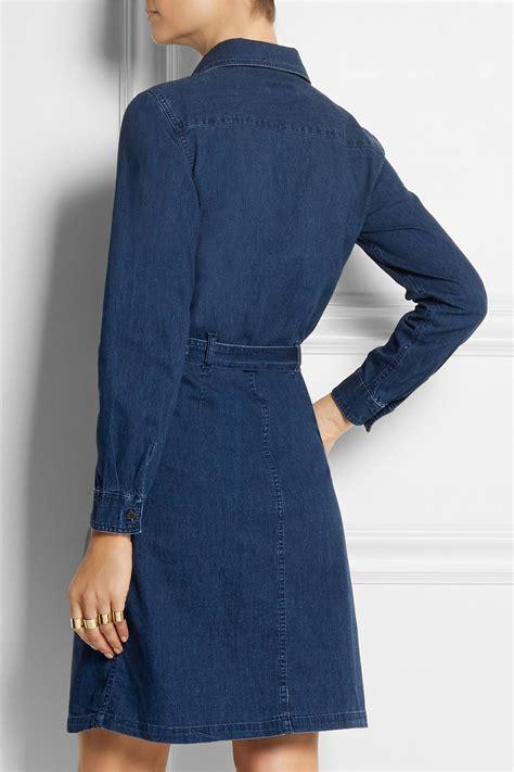 Denim Black Belted Dress lyst a p c army belted denim dress in blue