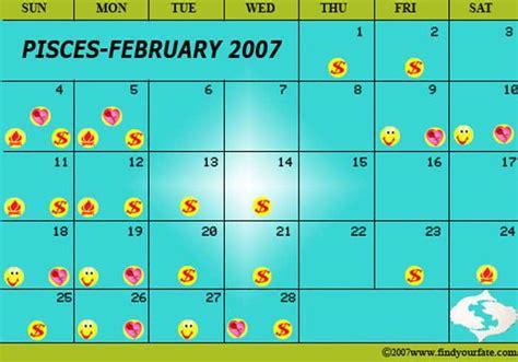 February 2007 Calendar 2007 Astrology Calendars For All Zodiac Signs Pisces
