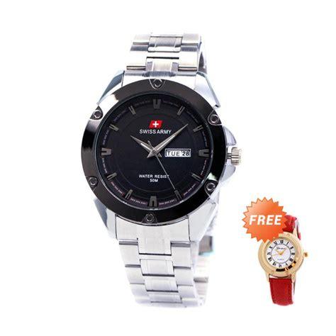 Swiss Army Date Silver Hitam jual swiss army sa150881m stainless steel jam tangan