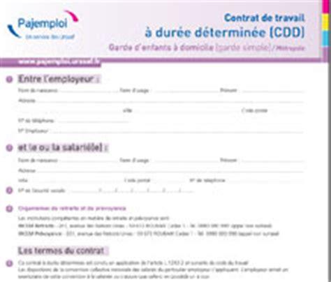 Modification Du Contrat De Travail Pour Raison économique by Garde D Enfants 224 Domicile Pajemploi
