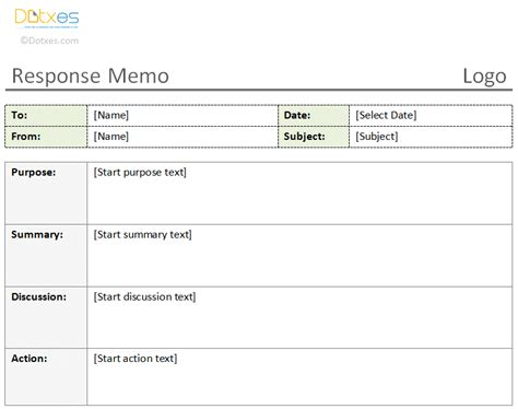 Response Memo Template 1 1 Dotxes Response Form Template
