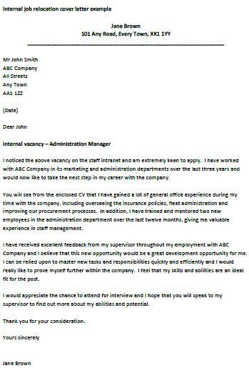 internal job cover letter isale