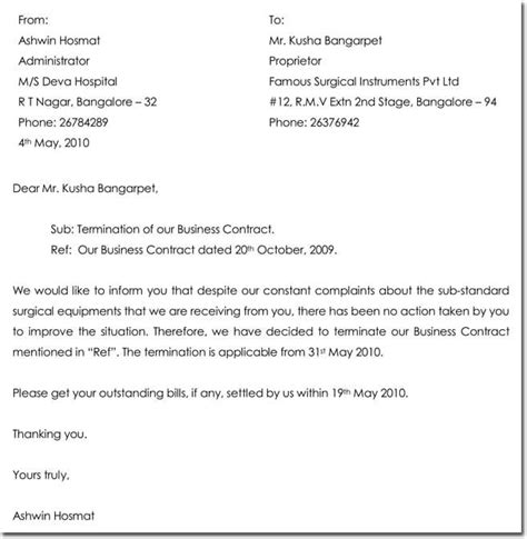 samples termination letter templates formats